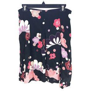 Ann Taylor Navy Blue Pink Floral Skirt